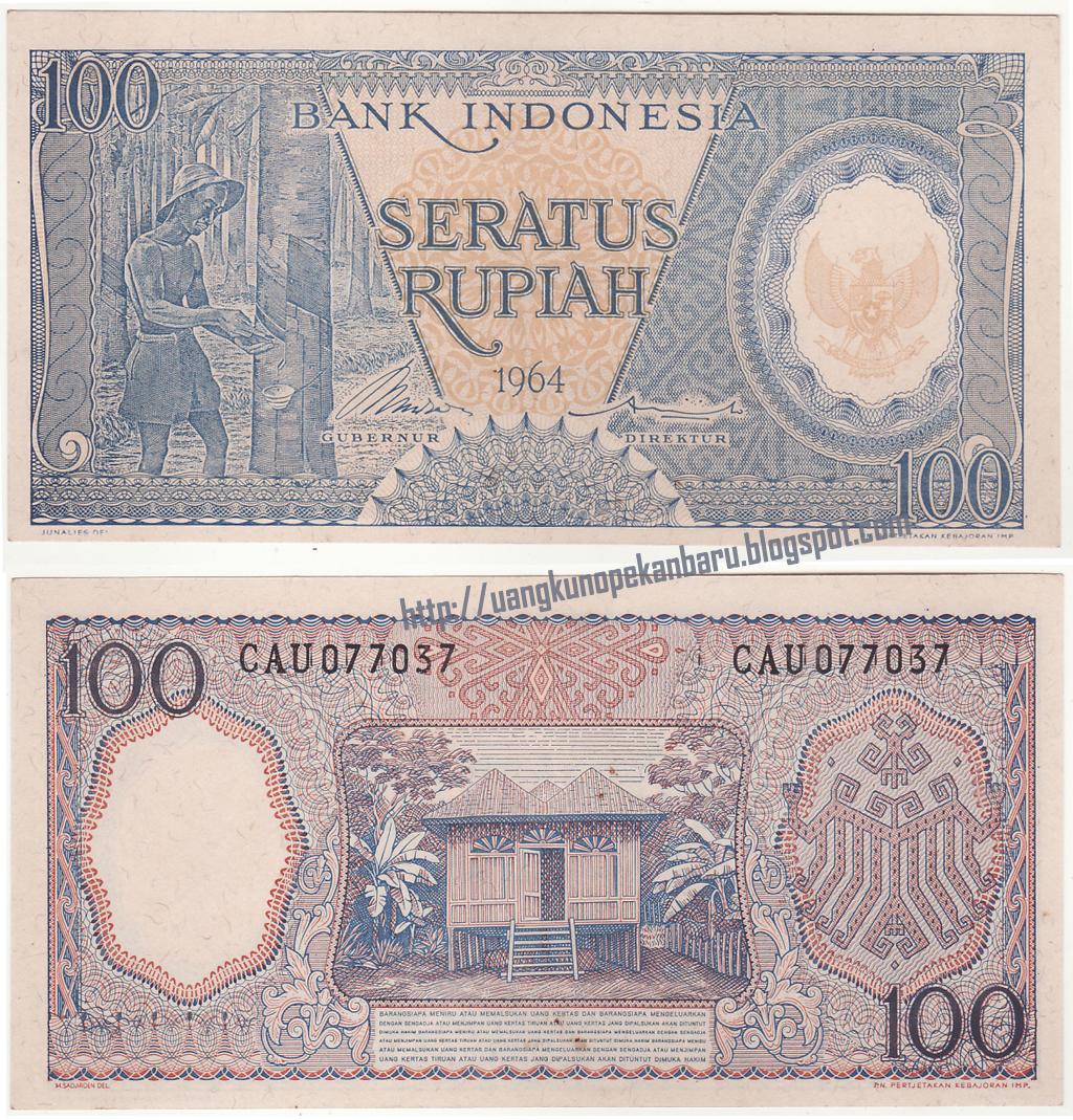 Uang Kuno Koleksi Dan Mahar Pernikahan Pecahan 100 Rupiah Burung Dara 1964 Pekerja Biru