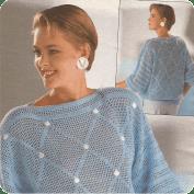 Jersey con rombos de rejillas a Crochet
