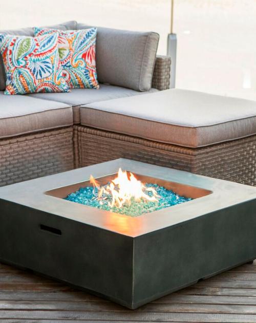 Concrete Backyard Fire Pits Blue Fireglass