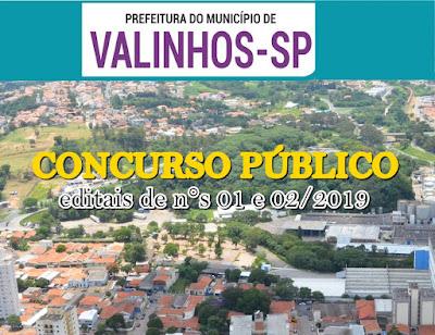 Editais para Prefeitura de Valinhos / SP oferece 70 vagas
