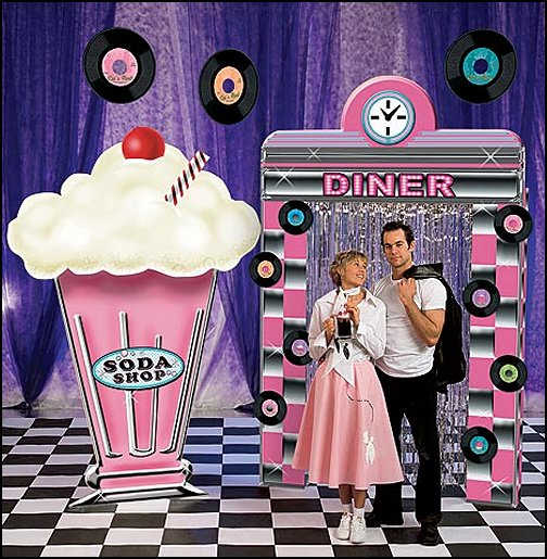 Fifties Diner Kit  Fifties Diner Kit  50s party ideas - 50s party decorations - 1950s Theme Party - 1950's Rock and Roll Themed Party Supplies - 50s Rock and Roll Theme Party - 50s party decorations - 50s party props - 50s diner party  50s Costumes