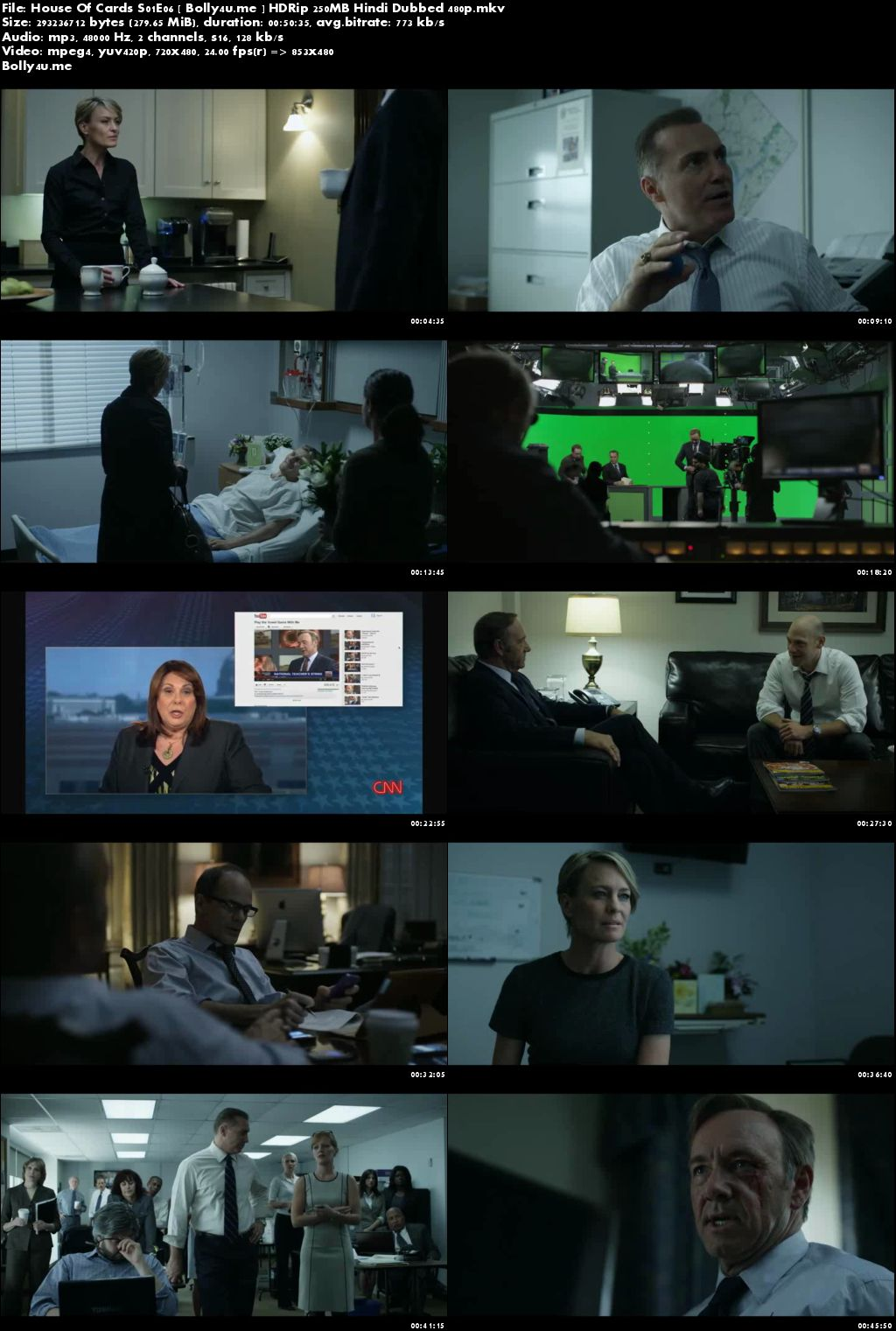House Of Cards S01E06 HDRip 250MB Hindi Dubbed 480p Download