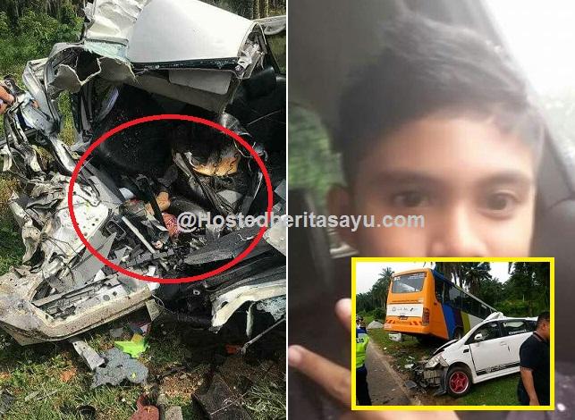 SAYU !! Selamat tinggal Raffiq ... Ajal remaja 15 tahun kereta dipandu hancur bertembung bas (10 Gambar)