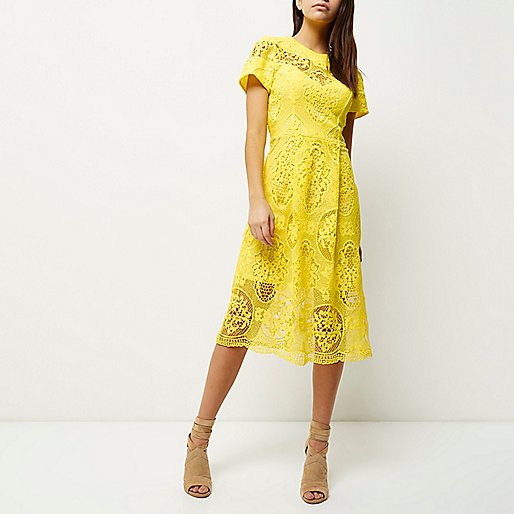 yellow lace midi dress, river island yellow lace dress,