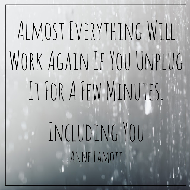 Almost everything will work again if you unplug it for a few minutes. Including you. Unplug quote by Anne Lamott