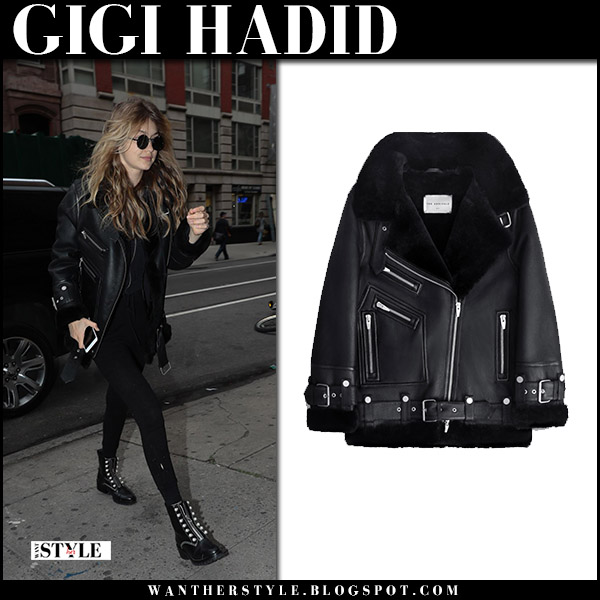 Gigi Hadid in black leather jacket the arrivals moya III and pearl ankle boots model street style october 26 2017