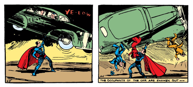 Action Comics (1938) #1 Page 9 Panels 1 & 2: Superman rescues Lois Lane by shaking her and the bad guys out of the main bad guy's car.