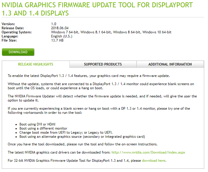 Nvidia releases fix for DisplayPort issues on Maxwell and Pascal