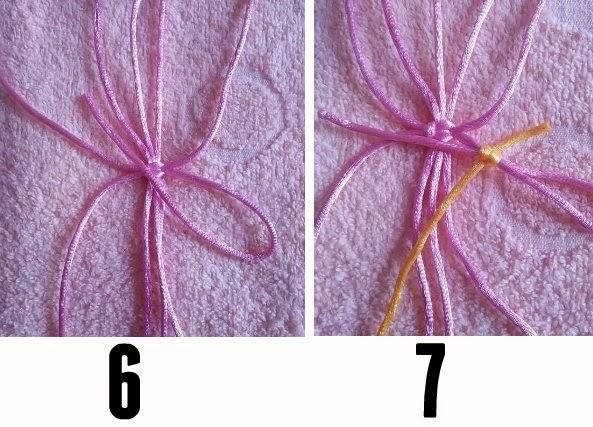 Flor de macrame con hilos de colores