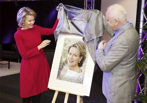 Princess Mathilde attends the launch of the first stamp for her 40th Birthday, Mechelen