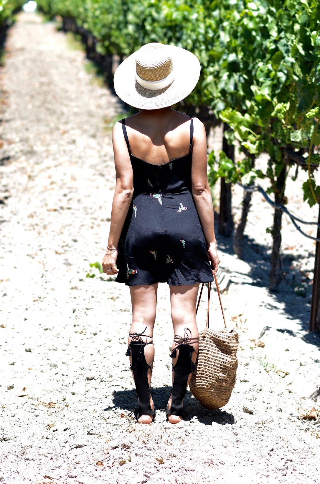 Napa Wine Valley, Reformation dress, ref babe, summer style, chic summer style, cute summer style, gladiator sandals, straw tote, straw summer hat