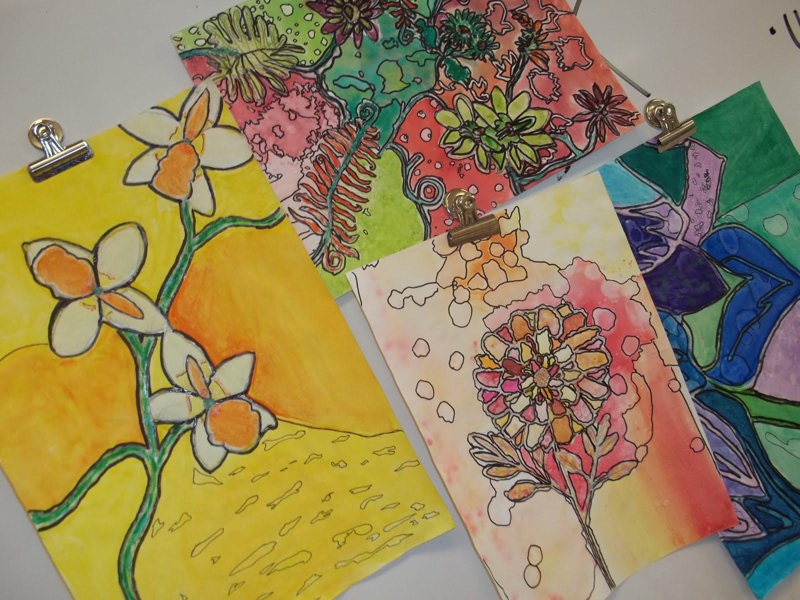 Art At Becker Middle School Watercolor Batik Flowers Are