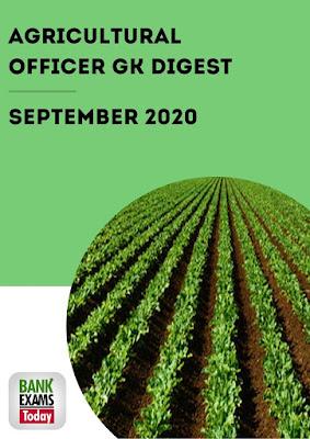 Agricultural Officer GK Digest: September 2020