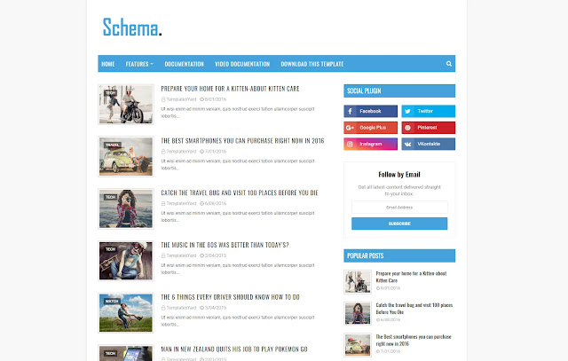 Schema Responsive Niche Personal Blog Simple Minimalist Faster Blogger Template Theme