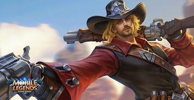 Clint Mobile Legends yang bersenjatakan pistol siap bertarung di Mobile Legends! Hero marksman ini sangat mengandalkan damage per second
