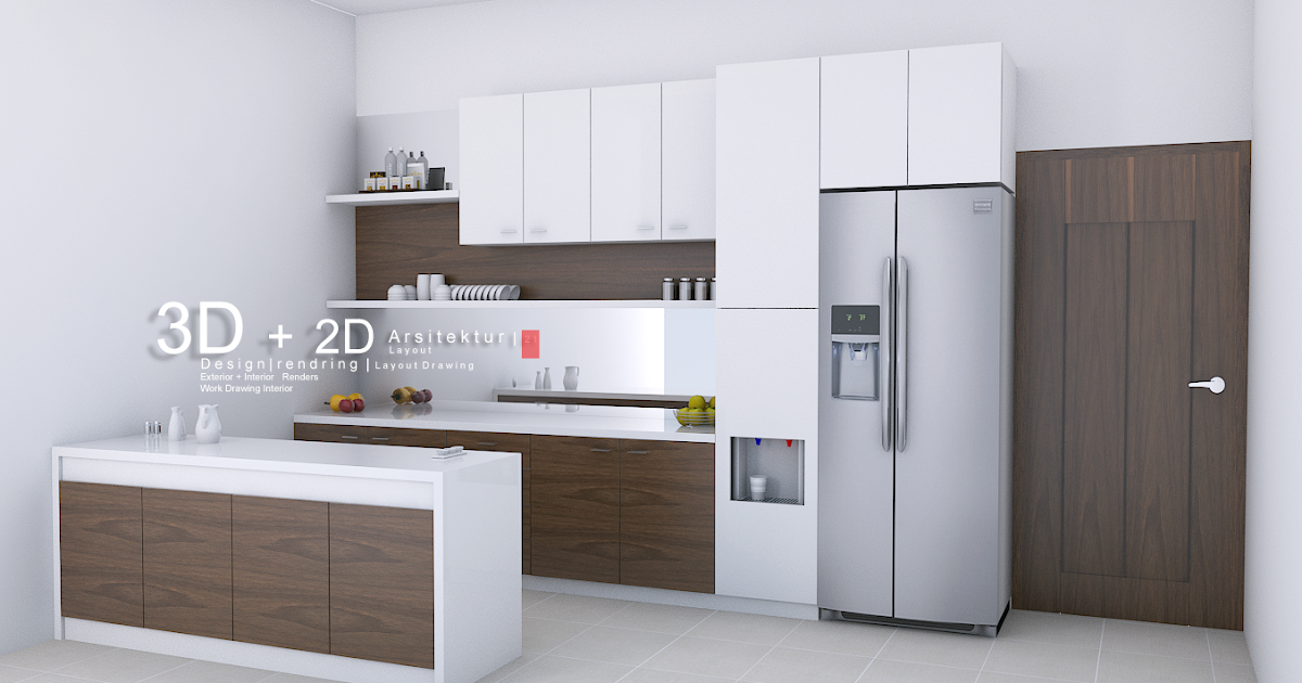 jasa 3d render interior kitchen dapur