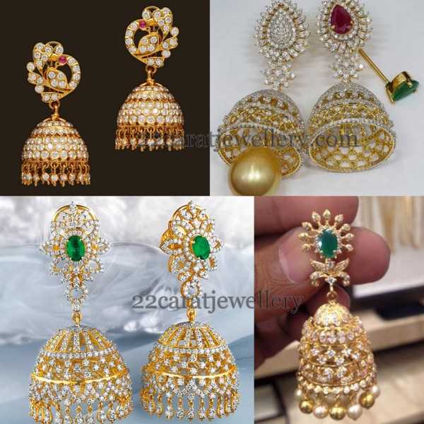 Changeable Stone Diamond Jhumkas