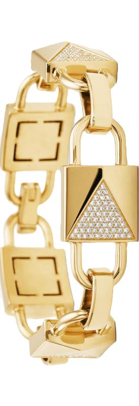 MICHAEL KORS 14K Gold-Plated Sterling Silver Pavé Mercer Link Bracelet
