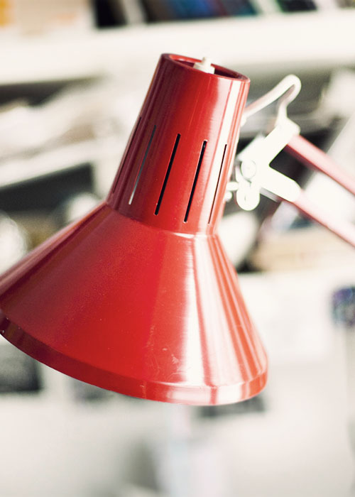 old  red retro lamp