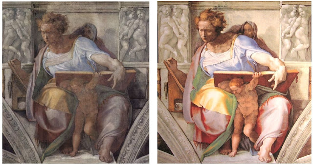 Sistine Chapel Daniel before and after cleaning. The Fig Leaf Campaign. MarchMatron.com
