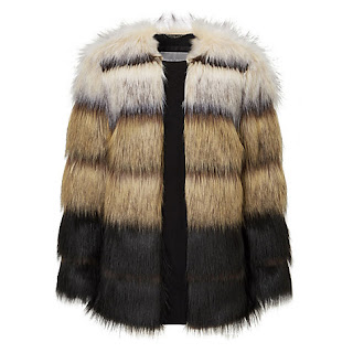 black stripes faux fur jacket/coat