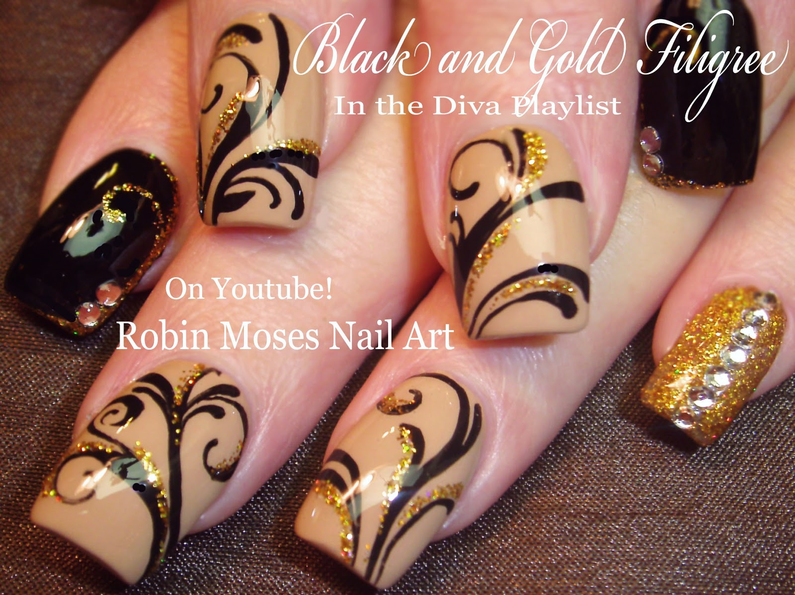 robin moses nail art: soft tan with black and gold winter diva