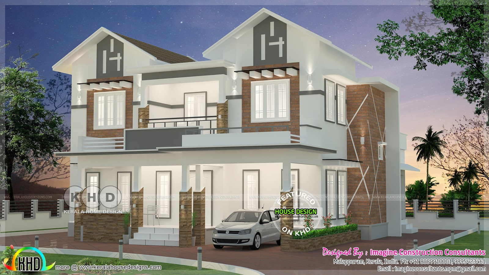 Sloping Roof Mix 2420 Square Feet Home Plan Kerala Home