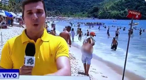 Rapaz mostra o bumbum durante transmissão ao vivo na Globo, veja