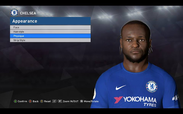 Victor Moses Face + 3D Beard + Neck Tattoo PES 2017