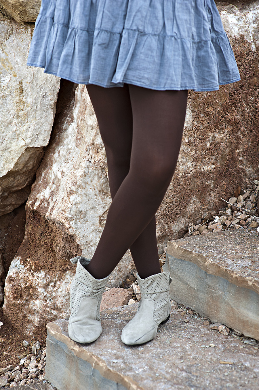 Brown Tights, Grey Booties