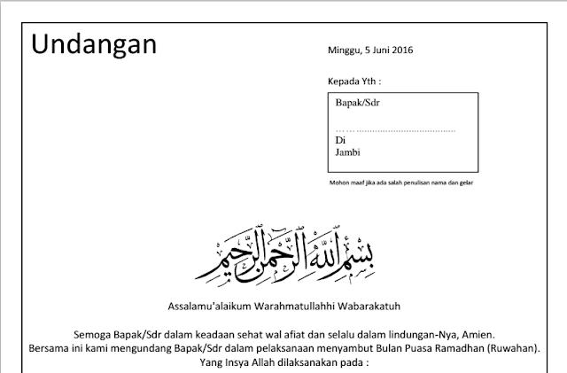 Contoh Undangan Menyambut Bulan Ramadhan