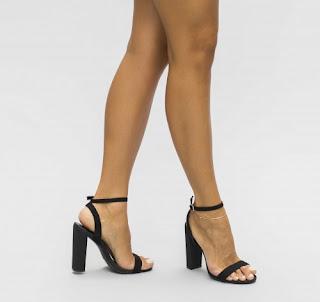 Sandale elegante de vara, negre cu toc gros