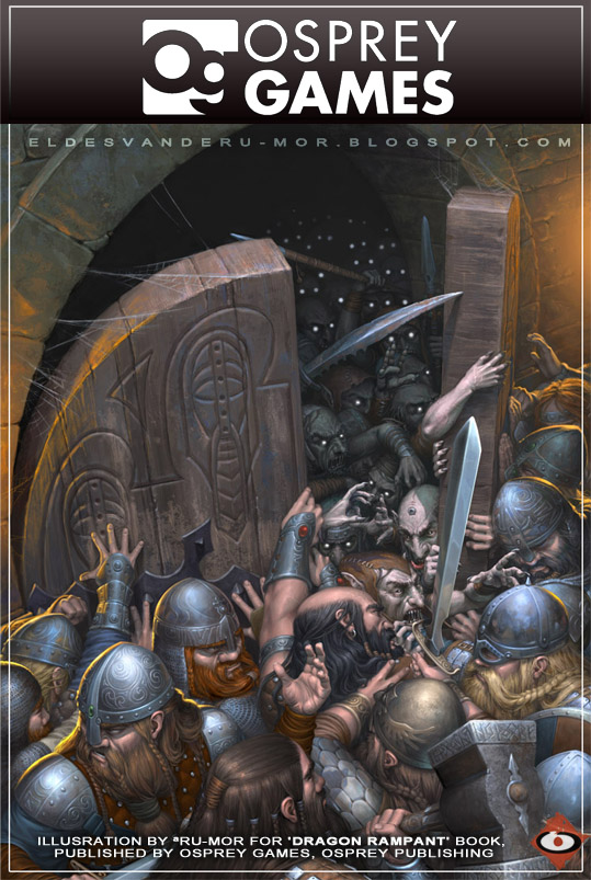 illustration of Dragon Rampant book, done by RU-MOR for OSPREY Games, fantasy wargame, 'Fantasy Wargaming Rules' collection, Osprey Publishing, dwarves goblins battle