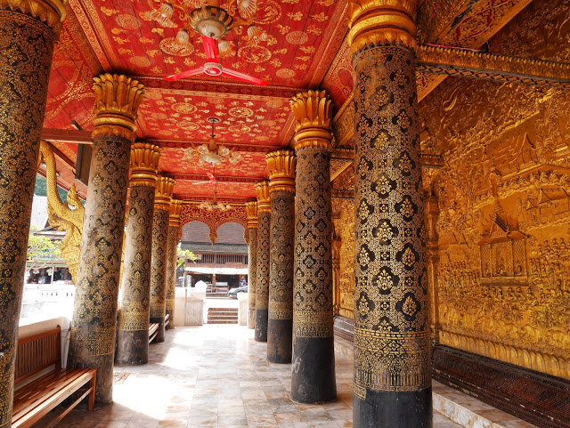 the front verandah at Wat Mai in Luang Prabang