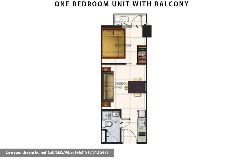 Floor Plan of SMDC Spring Residences - 1 Bedroom With Balcony | Condominium for Sale Bicutan Paranaque