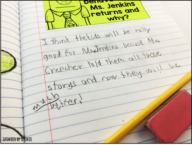 There are comprehension questions and writing prompts included that can be used for classroom discussion or for students to complete in their reading response journals after reading Substitute Creacher.