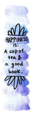 watercolor bookmark cup of tea purple blue watercolor