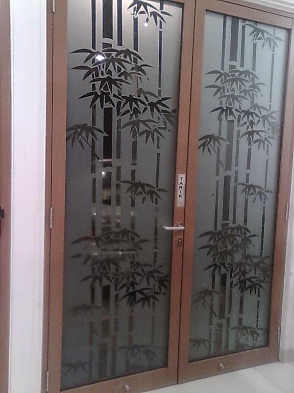 stiker kaca jendela motif bambu