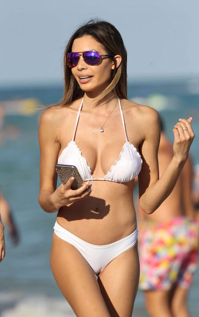 Jasmine Tosh in White Bikini on Miami Beach
