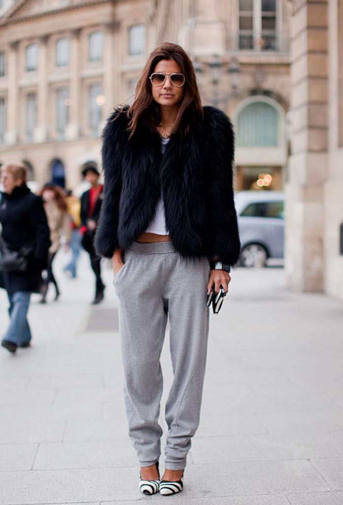 Sporty Sweatpants Worn with High Heels