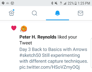 Screenshot of Peter H. Reynolds liking my #Sketch50 Tweet.