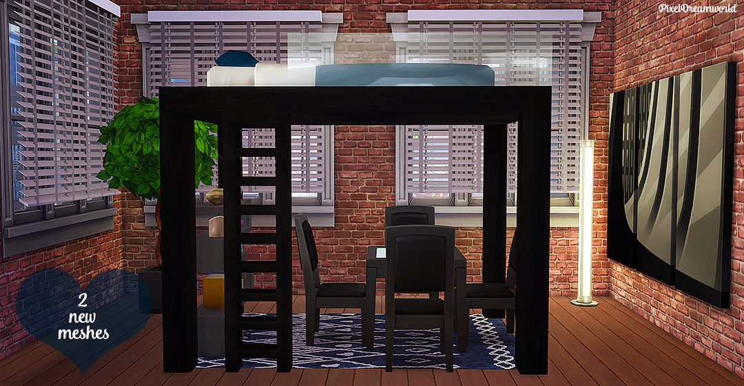 My Sims 4 Blog Apartment Loft Bed Set By Pixeldreamworld