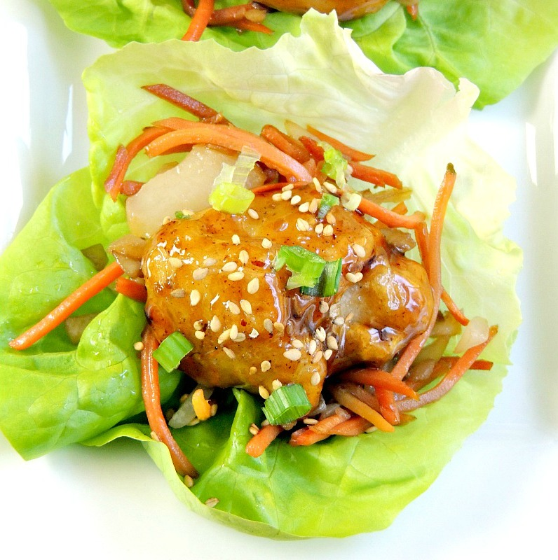 General Tso's Chicken Lettuce Wrap appetizer