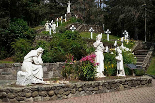 A path depicting the Marian apparition at the National Shrine of Our Lady of La Salette in Attleboro, Massachusetts