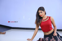 Telugu Actress Nishi Ganda Stills in Red Blouse and Black Skirt at Tik Tak Telugu Movie Audio Launch .COM 0188.JPG