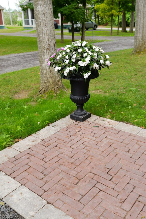 prince edward county landscaping, cottage landscaping, country garden, four seasons landscaping pec, red herringbone brick walkway