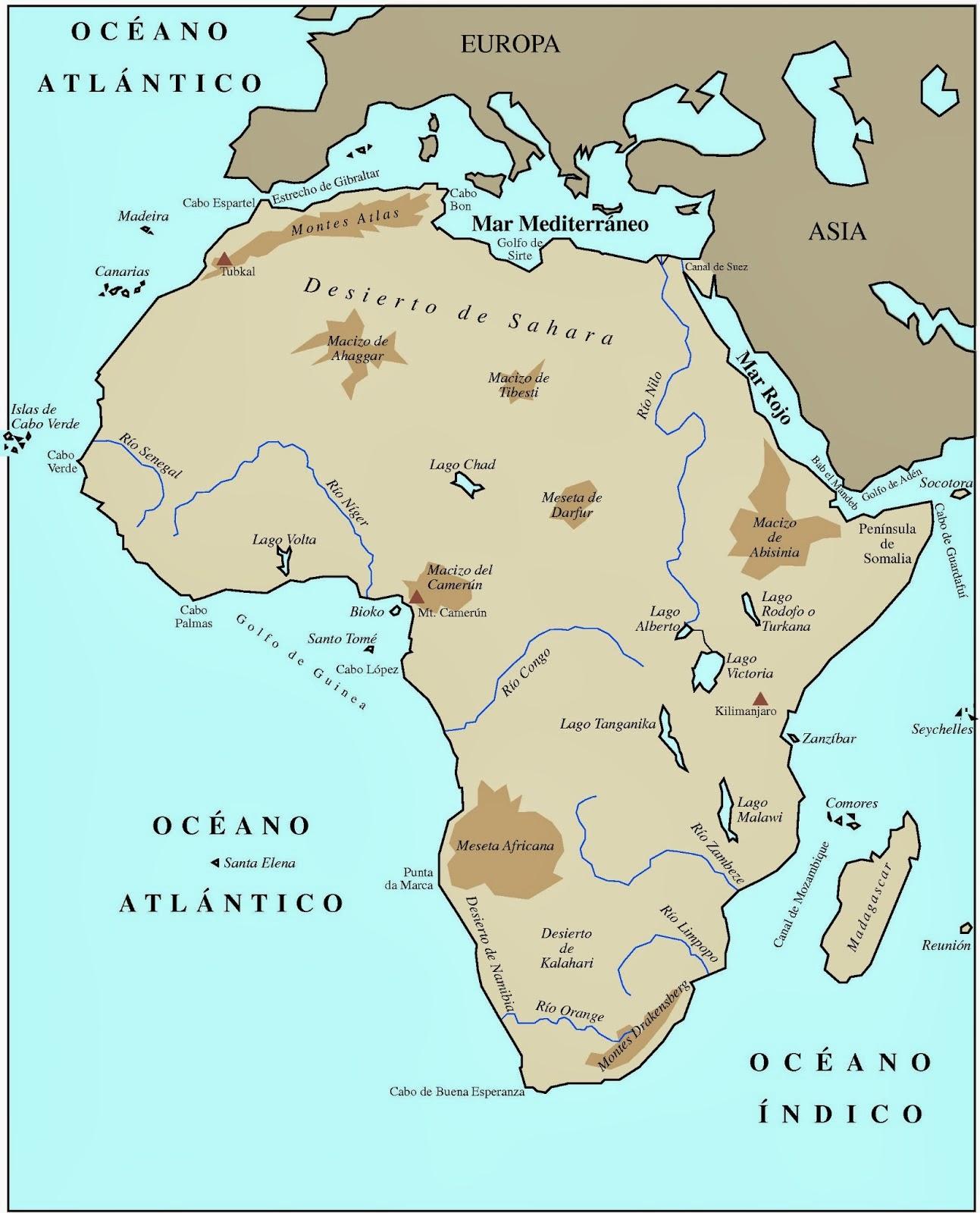 Relieve De Africa Mapa.Blog De Sociales 1º Eso Relieve De Africa