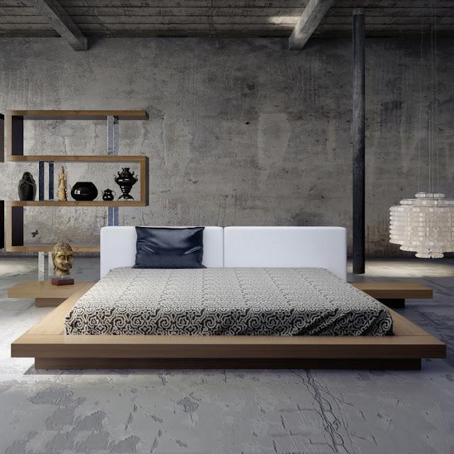 Cama de casal tatame com mesas integradas