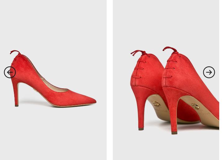 Baldowski - Pantofi cu toc rosii cu snur din piele naturala inatorsa