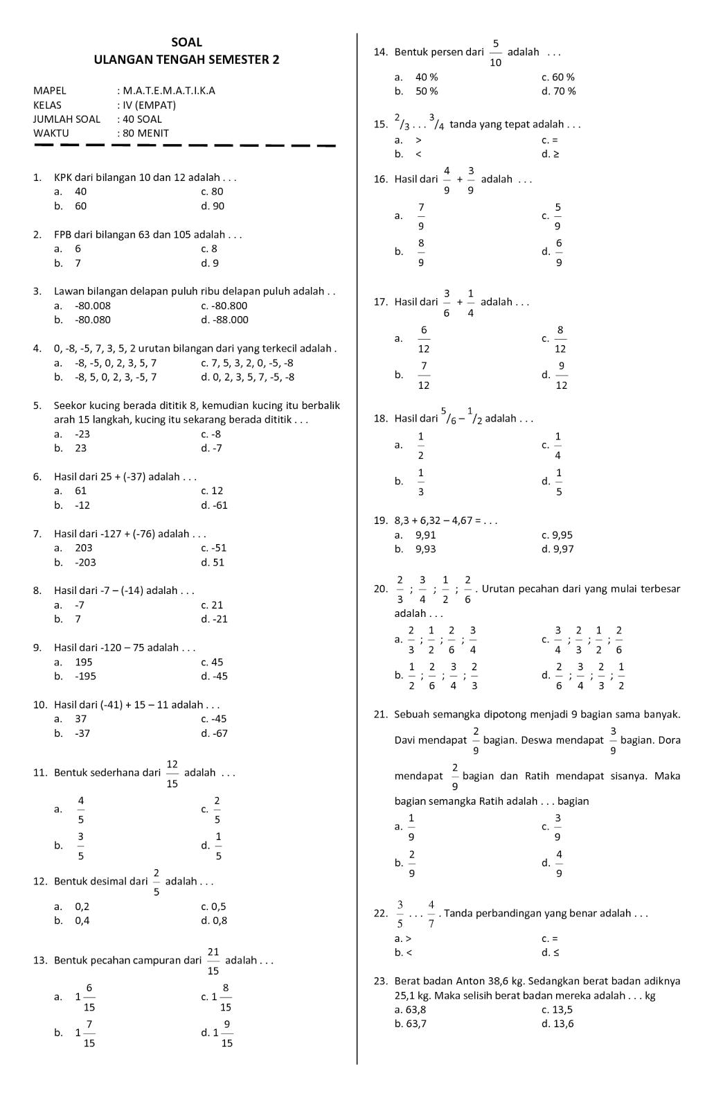 Kunci Jawaban Kelas 4 Matematika Gudang Kunci